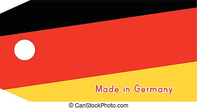 Germany flag on price tag with word Made in Germany isolated on white background