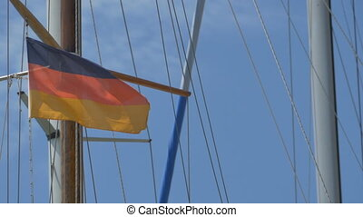 Germany Flag on Ship - Small Germany flag waving in the wind...