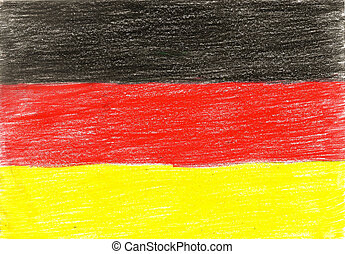 Germany flag, pencil drawing illustration kid style photo image