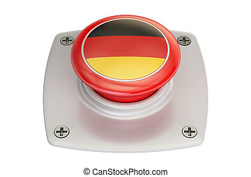 Germany flag push button, 3D rendering