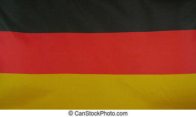 Germany Flag real fabric Close up - Textile flag of Germany...