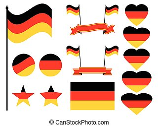Germany flag set. Collection of symbols, flag in heart. Vector illustration