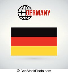 Germany flag, vector illustration isolated on modern background with shadow.