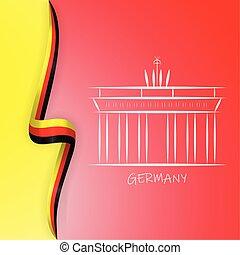 Germany flag wave and Brandenburg Gate, Brandenburger Tor. ...