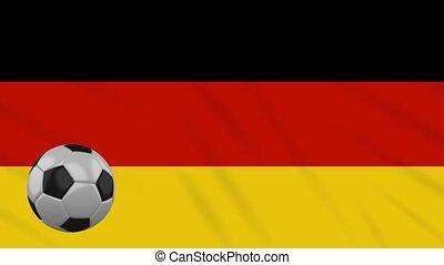 Germany flag waving and football rotates, loop