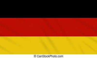 Germany flag waving cloth background, loop