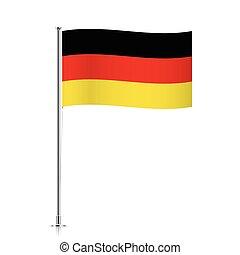 Germany flag waving on a metallic pole.