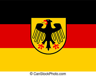 Germany flag with coat of arms vector