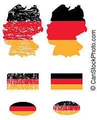 Germany flags and map