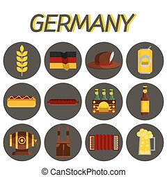 Germany flat icon set
