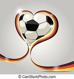 Germany football in ribbon heart