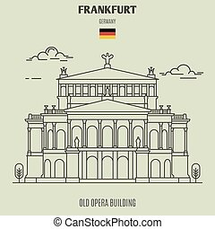 germany., fráncfort, edificio, señal, viejo, icono, ópera