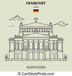 germany., francoforte, costruzione, punto di riferimento, vecchio, icona, opera