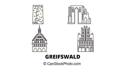 Germany, Greifswald line travel skyline set. Germany,...