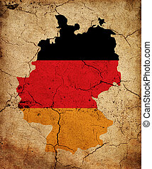 Germany grunge map outline with flag