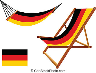 germany hammock and deck chair set against white background,...