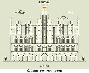 germany., hanovre, vieux, repère, hôtel ville, icône