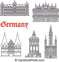 German historic architecture symbols and Germany famous sightseeing buildings. Vector isolated icons and facades of Town Hall, Palace Gottesaue in Karlsruhe, Holstenor museum, Wasserturm water tower in Mannheim and Marktkirche church