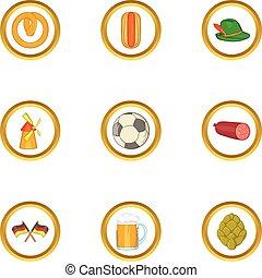 Germany icon set, cartoon style