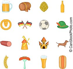 Germany icons set, cartoon style