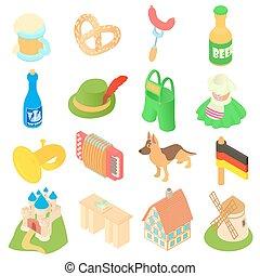 Germany icons set, isometric 3d style