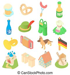 Germany icons set, isometric 3d style