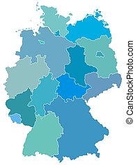 Germany - Silhouette map of the Germany federation. Source...