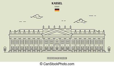 germany., kassel, ランドマーク, 博物館, fridericianum, アイコン