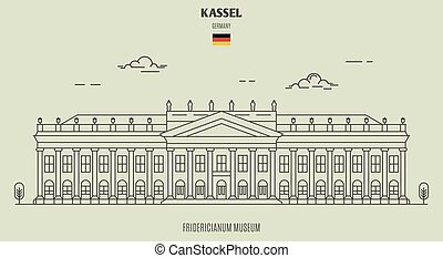 germany., kassel, repère, musée, fridericianum, icône