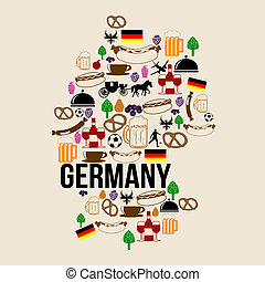 Germany landmark map silhouette icon on retro background,...