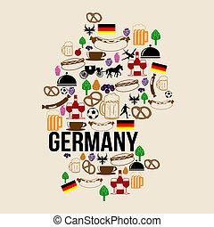 Germany landmark map silhouette icon on retro background, vector illustration