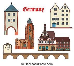 Germany landmarks architecture, German city houses