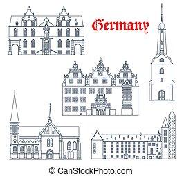Germany landmarks architecture, German city icons