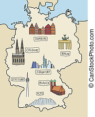 Germany landmarks - Germany - famous places on a doodle map...