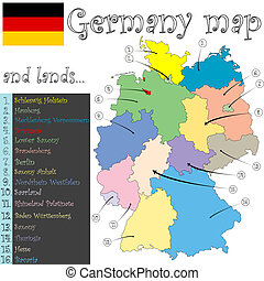 germany map and lands against white background, abstract...