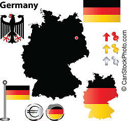 Germany map - Vector set of Germany country shape with flags...