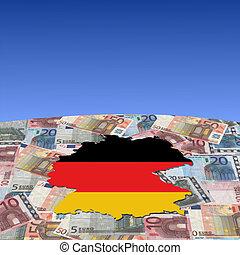 Germany map flag on euros