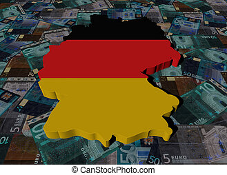 Germany Map flag on Euros illustration