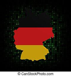 Germany map flag on hex code illustration