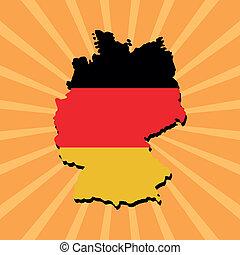 Germany map flag on sunburst