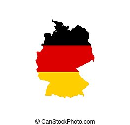 Germany map, flag. Vector illustration, flat design.