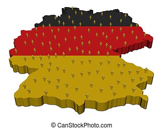 Germany map flag with people