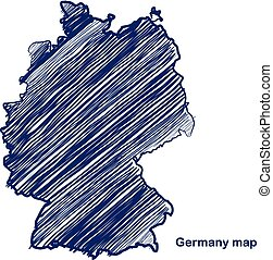 Germany map hand drawn background vector,illustration