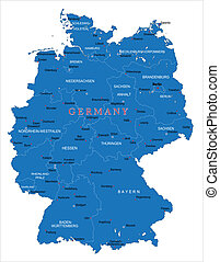 Germany map - Highly detailed vector map of Germany with...