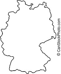 Germany Solid Black Silhouette Map Of Country Area Simple Flat