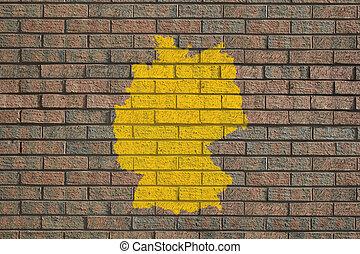 Germany map on brick wall