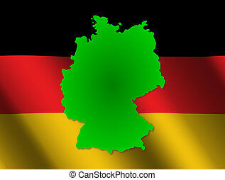 Germany map on flag