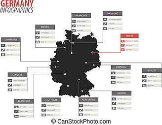 Germany map shape vector infographics