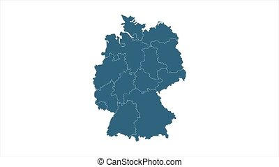 4k animated Germany map intro background with new administrative regions appearing. Germany Map Showing Up Intro With New Regions.