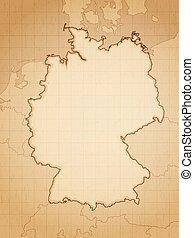 Vintage aged map of Germany vector illustration